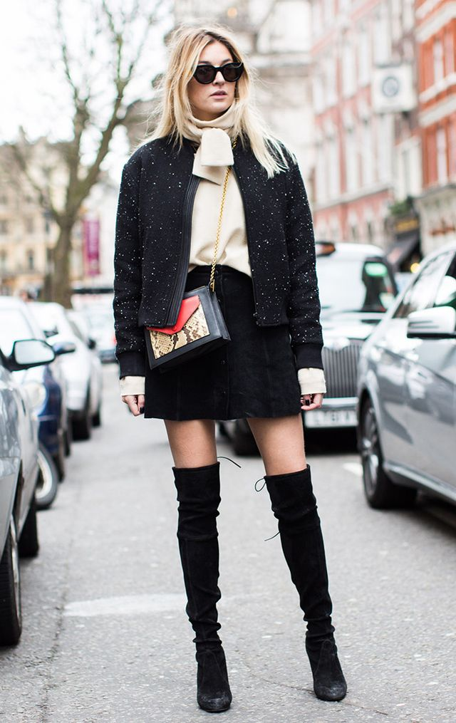Camille Charriere wearing over the knee boots