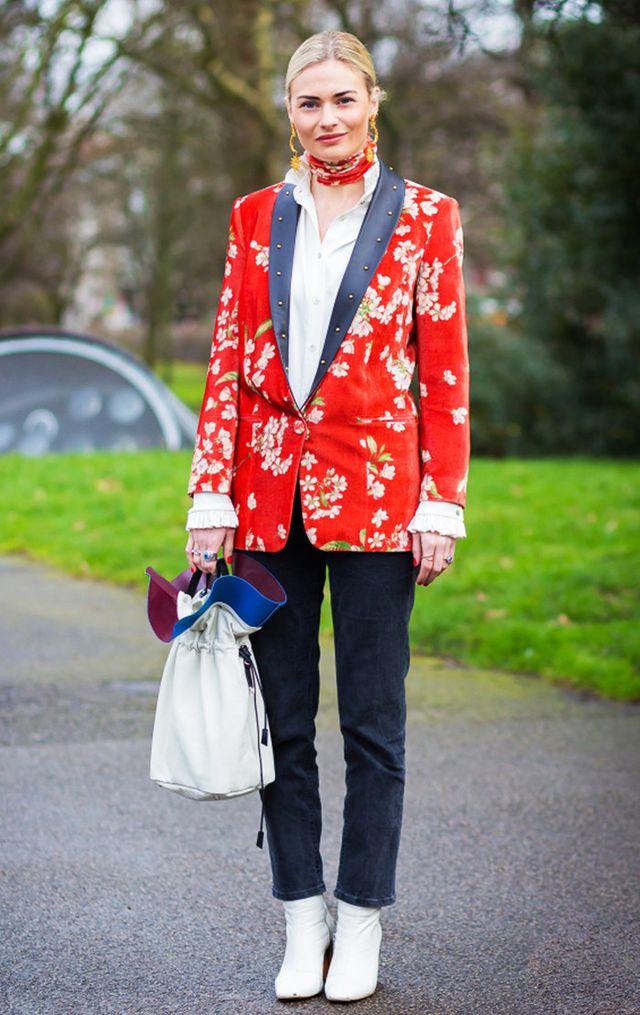 Street style red blazer, black jeans, white boots