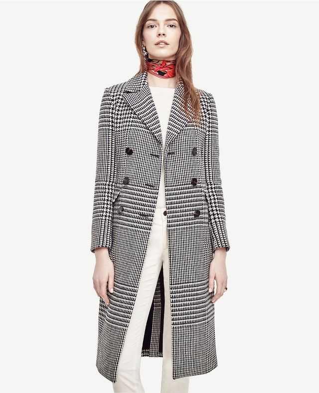 Ann Taylor Double Breasted Plaid Coat
