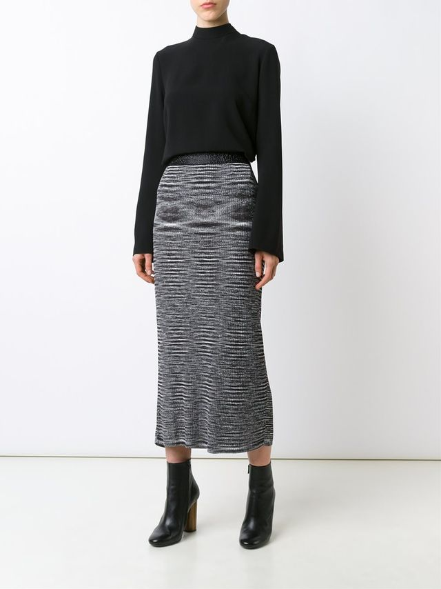 Ellery Striped Midi Skirt