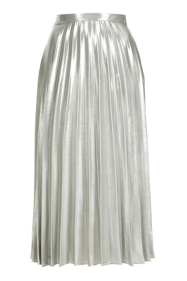 Topshop Metallic Pleat Skirt