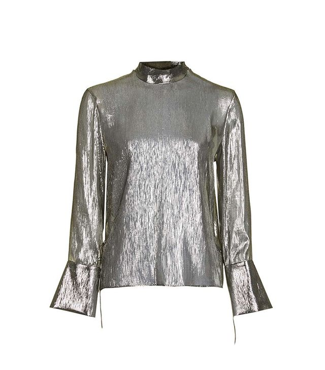 Topshop Metallic Open Back Blouse by Boutique