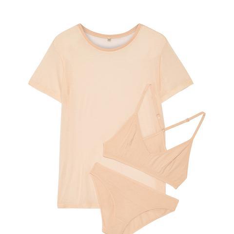 Bamboo-Jersey T-Shirt, Soft-Cup Bra And Briefs Set