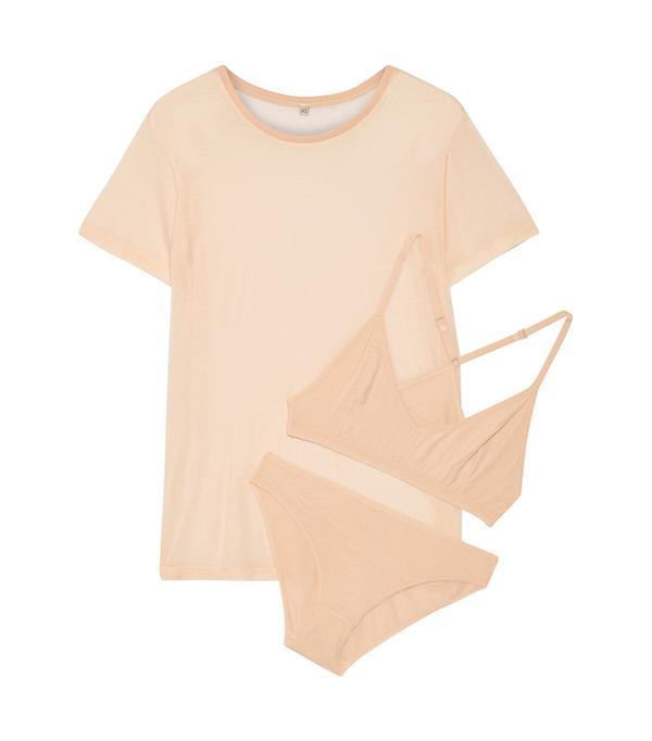 Baserange Bamboo-Jersey T-Shirt, Soft-Cup Bra And Briefs Set