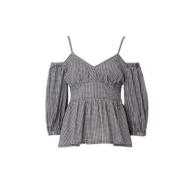 Seed Heritage Gingham Cold Shoulder Top