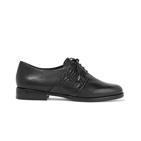 Molly Crocodile-Trimmed Leather Brogues