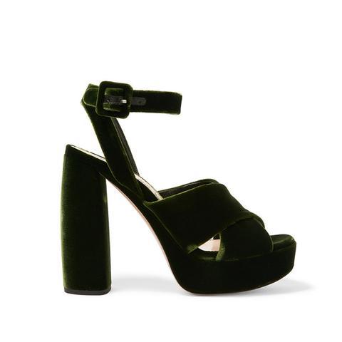 Velvet Platform Sandal