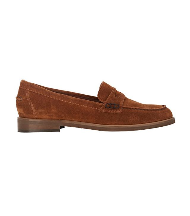 Barneys New York Suede Penny Loafers