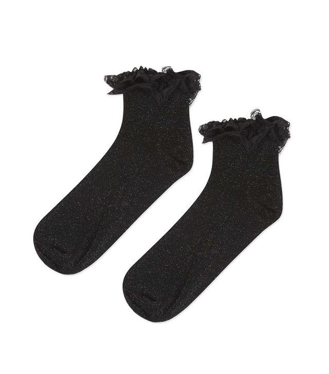 Topshop Glitter Lace Ankle Socks