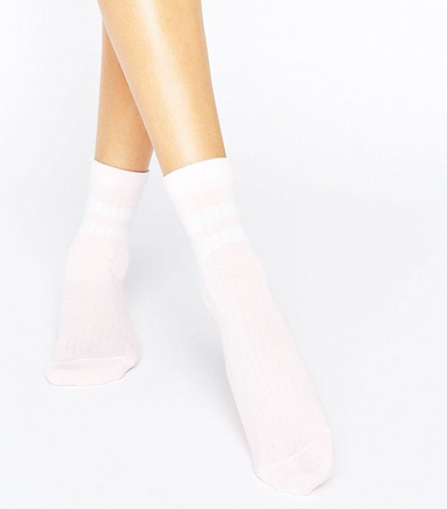 ASOS 2 Stripe Ribbed Ankle Socks