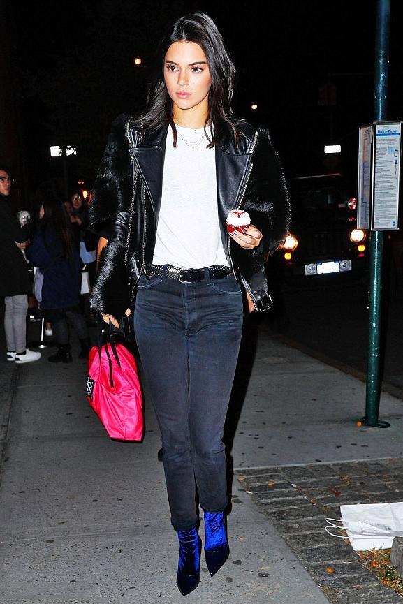 Kendall Jenner Balenciaga Velour Booties