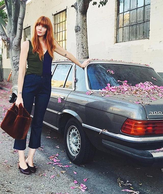 Brianna Lance wearing Mari Giudicelli Leblon mules in LA