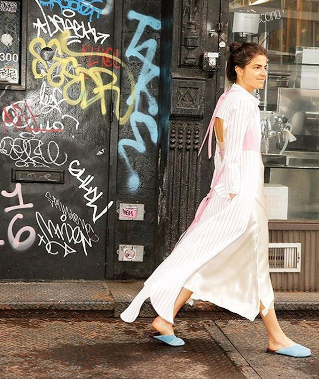 Leandra Medine of Man Repeller wearing Trademark mule in New York