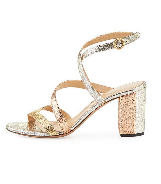 Chloé Metallic Crisscross 70mm Sandal in Gold Mix
