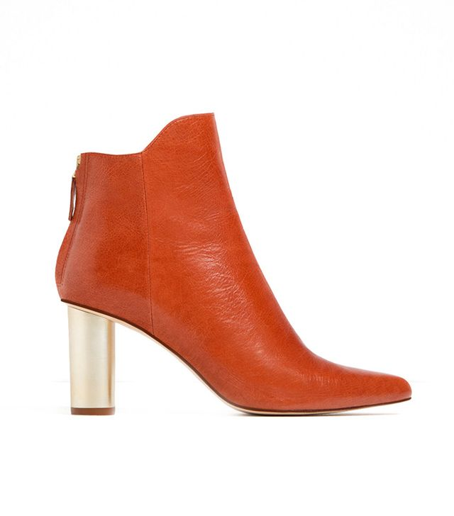 Zara Laminated Leather Booties