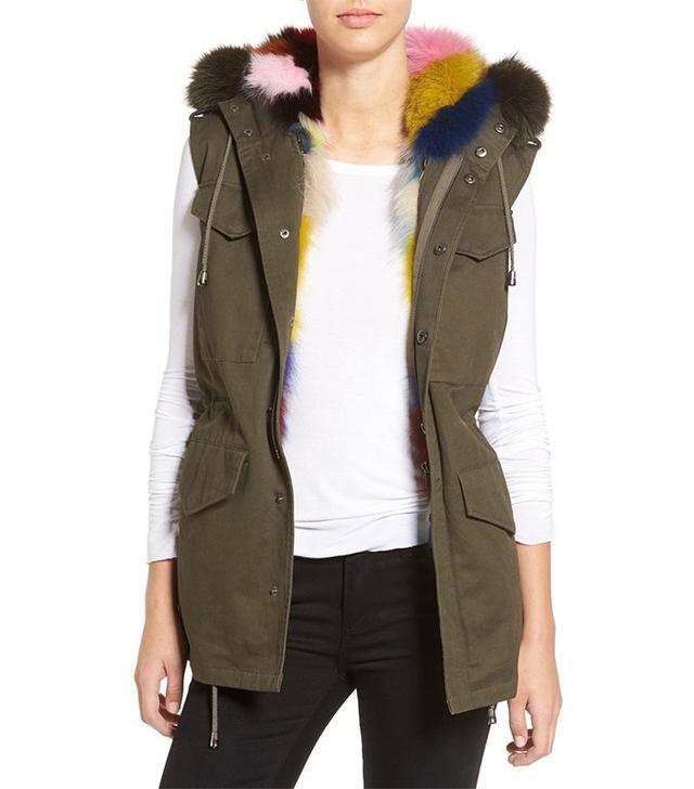Jocelyn Army Vest with Removable Genuine Fox Fur Hood & Lining
