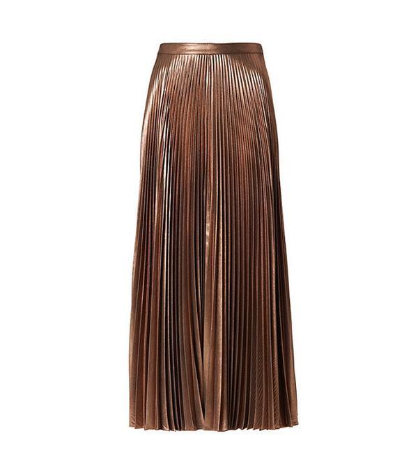 A.L.C. Bobby Metallic Pleat Skirt