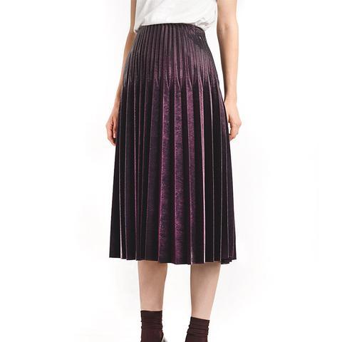 Burgundy Metallic Pleated Skirt