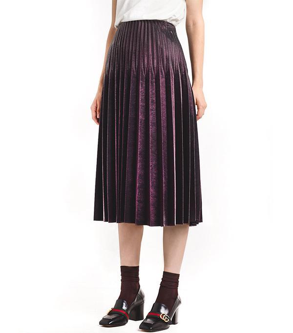 Pixie Market Burgundy Metallic Pleated Skirt