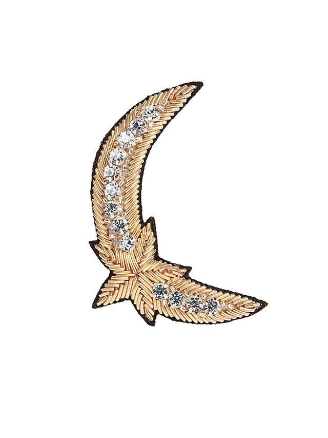 Huda Al Nuaimi Crystal-Embellished Moon and Star Brooch