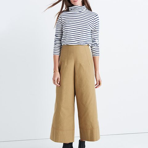 Khaki High-Rise Wide-Leg Pants