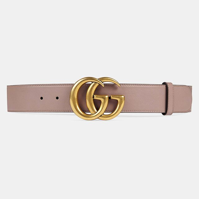 Gucci Leather belt with Double G Buckle in Pink Leather