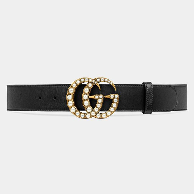 Gucci Leather Belt with Pearl Double G in Black