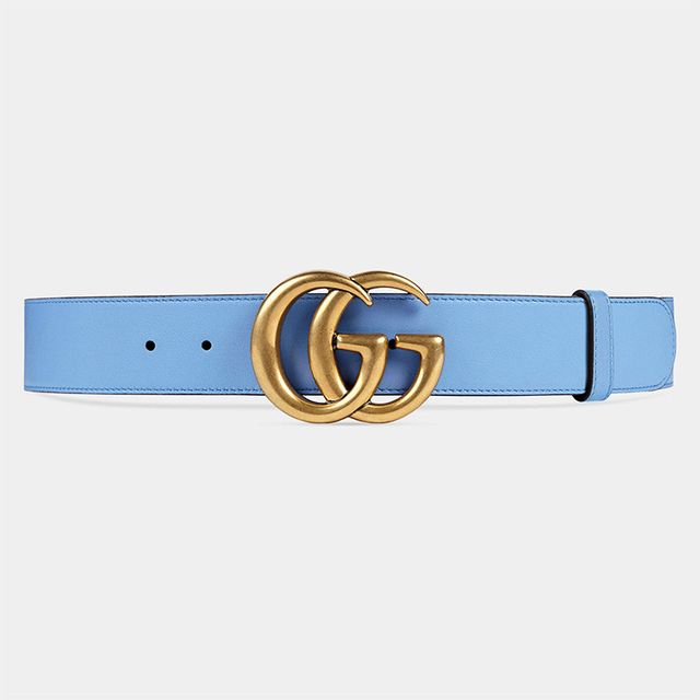 Gucci Leather belt with Double G Buckle in Light Blue