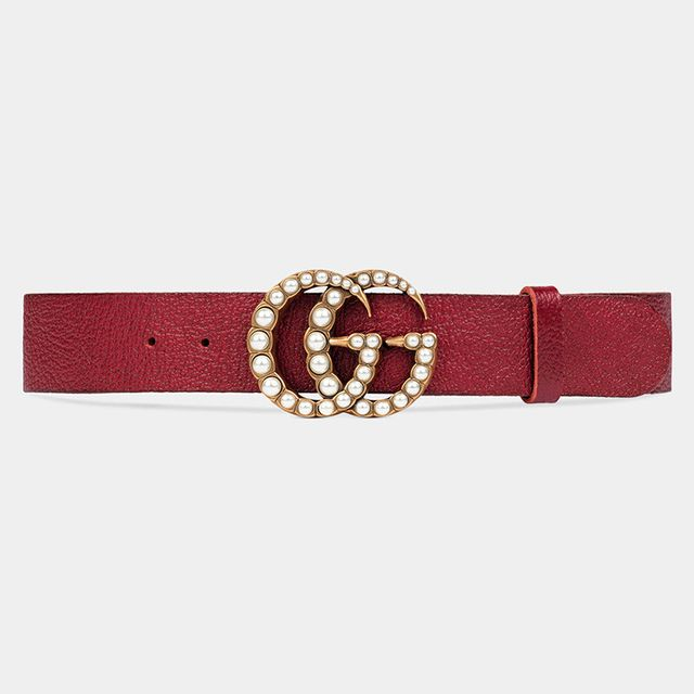 Gucci Leather Belt with Pearl Double G in Cerise