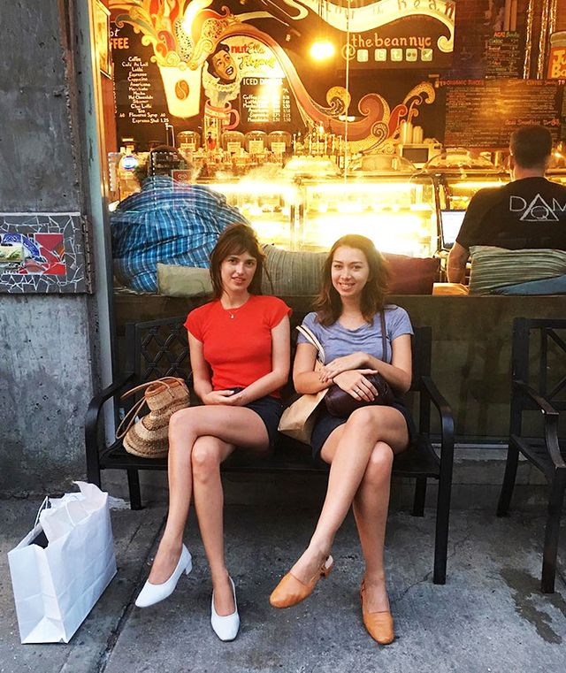 Jeane Damas in East Village wearing Maryam Nassir Zadeh shoes