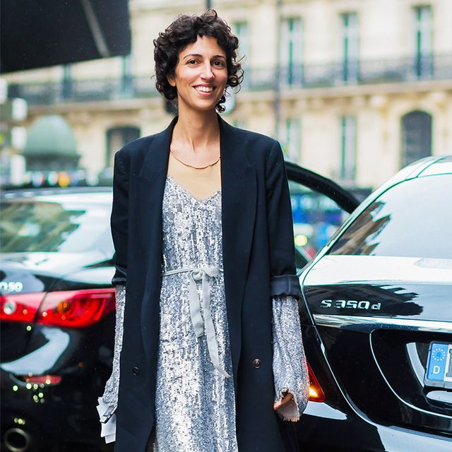Christmas Party Outfits: Yasmin Sewell in a sequin dress