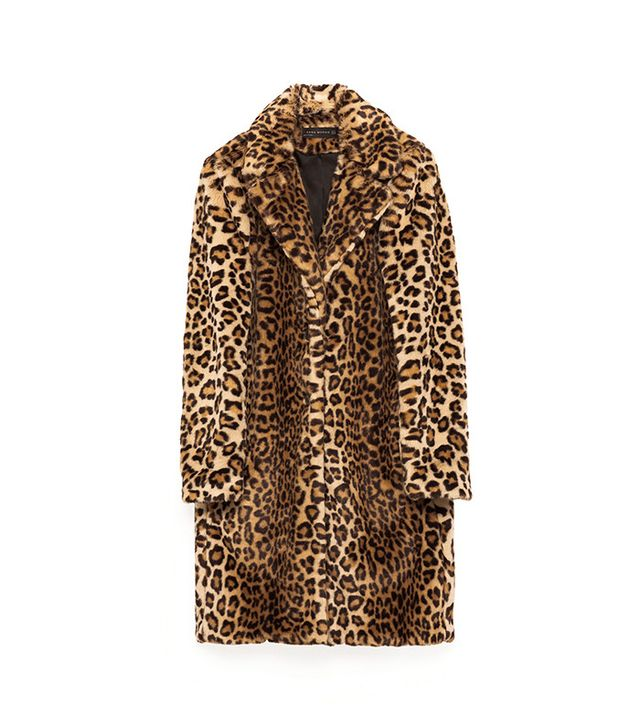 Zara Leopard Faux Fur Coat