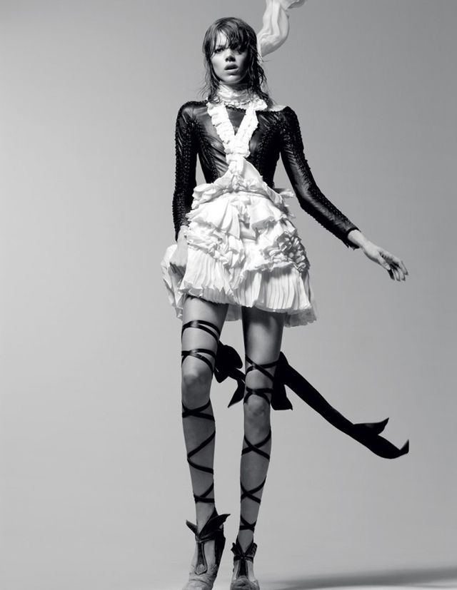 Model Freja Beha gives us major edgy ballerina vibes in this shot from an Interview spread shot by Craig McDean in 2010. The shoot features designs from Alexander Wang, Roberto Cavalli, and the...