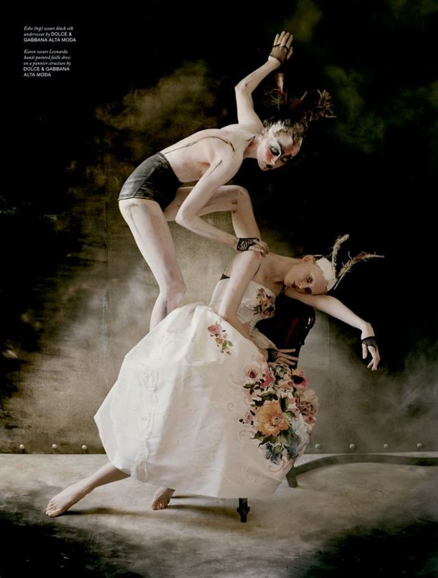 For Love Issue 10, photographer Tim Walker and models Edie Campbell and Karen Elson recall the darker side of the ballet world, all while styled in Dolce & Gabbana.