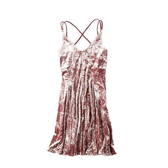 American Eagle Outfitters Crushed Velvet Slip Dress