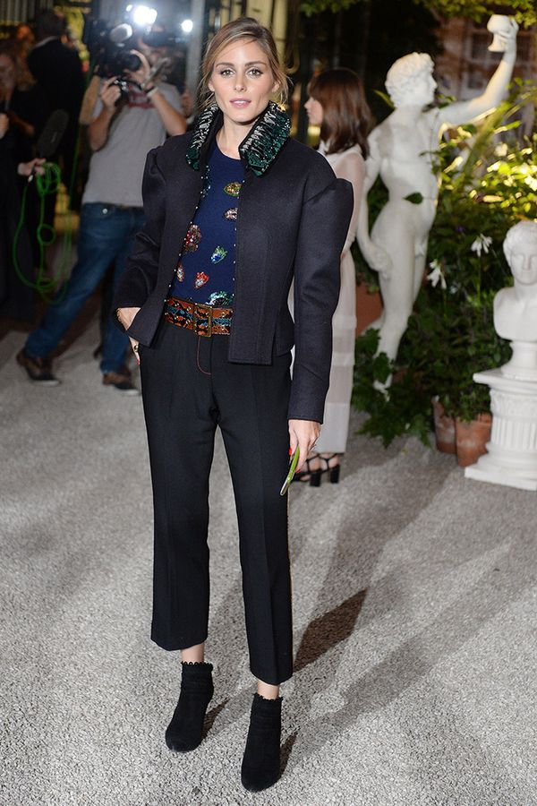 While this particular suit makes a statement on its own, all you need are a printed top and basic boots to take the look to the next level.On Olivia Palermo: Burberry Puff Sleeve Wool Jacket...