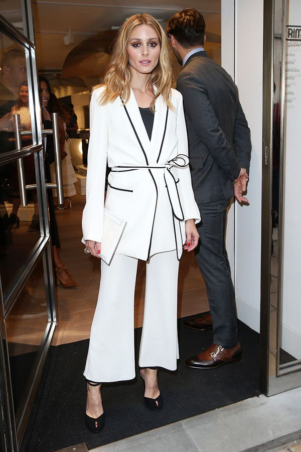A silk suit with a wrap jacket is the ideal silhouette if you want to test out this look for a more formal occasion. On Olivia Palermo: Zara blazer and trousers.