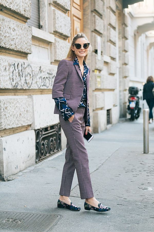A blazer with shorter sleeves is incredibly forward-feeling—especially with a longer blouse sticking out of it. On Olivia Palermo: Paul & Joe Chorus Shirt ($309); Max & Co. Geometric Blazer...