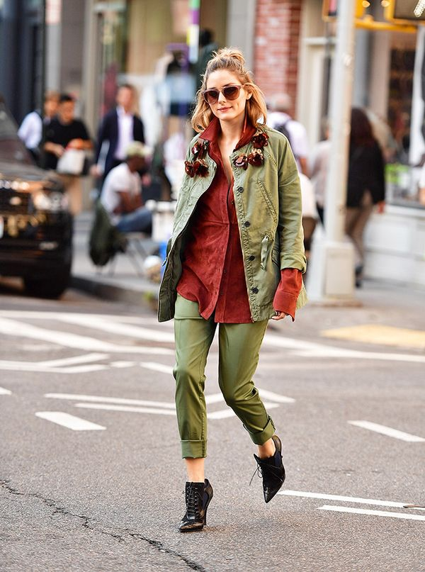 Want to test out Olivia's two-piece trick in your off-duty life? Try a casual suit like this olive iteration. On Olivia Palermo: Givenchy Cutout Ankle Boots ($1295); Tibi Featherweight Suede Luxe...