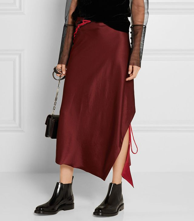 DKNY Lace-Up Satin Midi Skirt