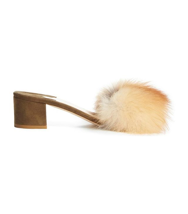 Brother Vellies Tufted Genuine Fox Fur Slide Sandal