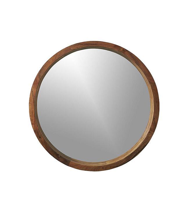 """acacia wood 24"""" wall mirror"""