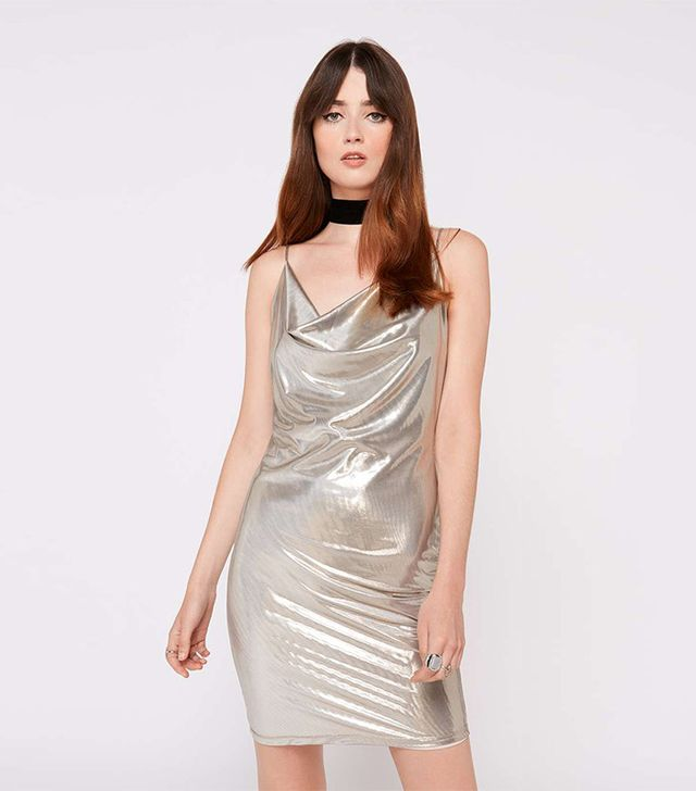 Miss Selfridge Silver Lame Cowl Neck Dress