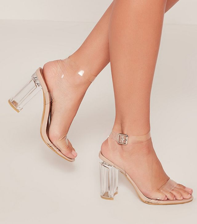 Missguided Nude Transparent Block Heel Barely There Sandals
