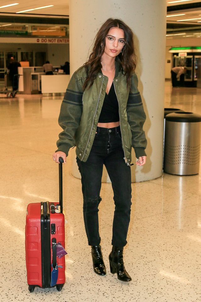 Emily Ratajkowski airport Style Citizens of Humanity Liya Jean