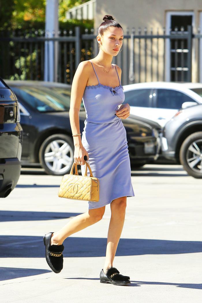 Bella Hadid pastel slip dress Boyy Loafers
