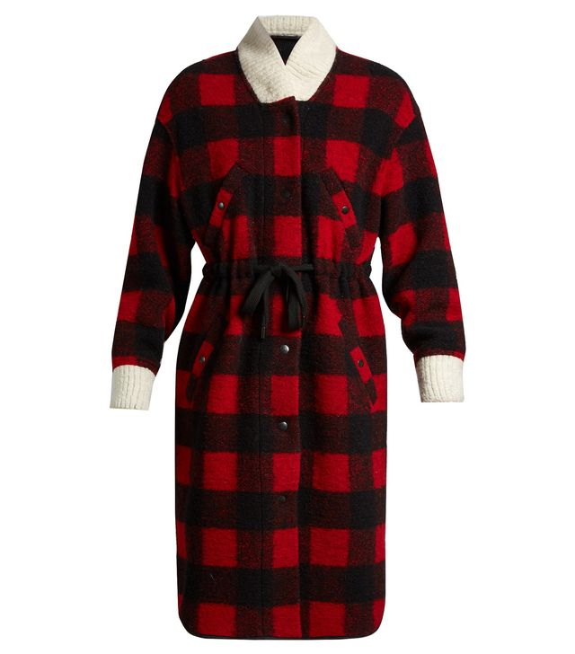 Glitz tie-waist checked coat