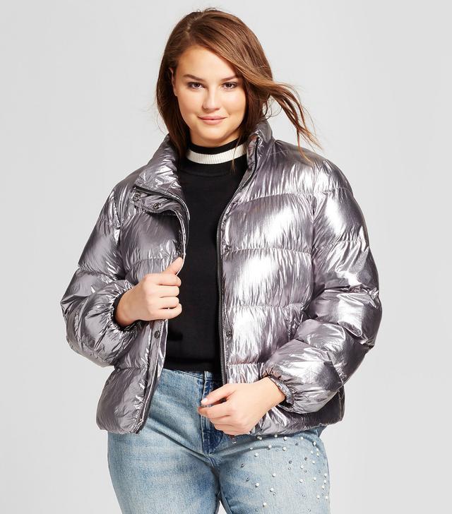 Who What Wear Boxy Metallic Puffer Jacket