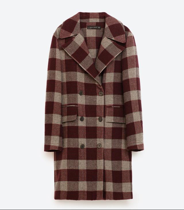 Zara Burgundy Grey Check Coat
