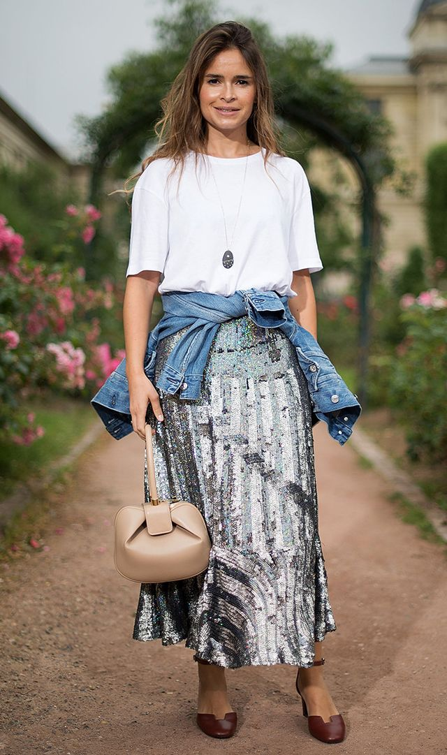 Sequins (as well as party dresses, statement jewelry, and the like) have a place in the daylight. Just ask Miroslava Duma.